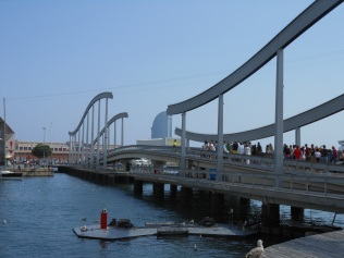 Swing bridge - pedestrians stopped before it opens